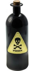 Bouteille Poison en verre noir Halloween 21 cm