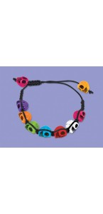 Bracelet crânes colorés Jour des Morts Halloween 24 x 42 cm
