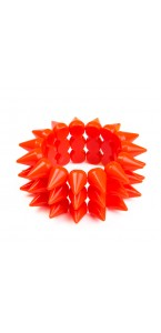 Bracelet fluo orange picots D 7 cm