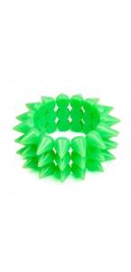 Bracelet fluo vert picots D 7 cm