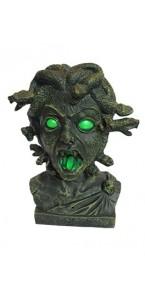Buste Zombie Medusa articulé, yeux lumineux, bruit Halloween