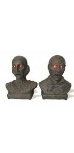 Bustes de Zombies lumineux et sonores Halloween 21 x 13 cm