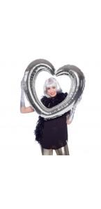 Cœur argent  gonflable 80 x 75 cm