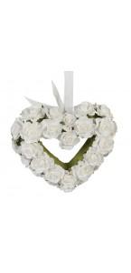 Cœur en roses blanches polyester 13 x 10 cm