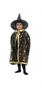 Cape enfant sorcier noire avec des étoiles en or 72 cm