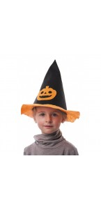 Chapeau de sorcière citrouille Halloween enfant