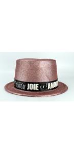 Chapeau pailleté Rose gold avec bandeau joie