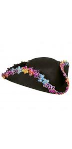 Chapeau Pirate noir avec fleurs anémones multicolores