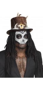 Chapeau Vaudou Buluku Halloween avec cheveux
