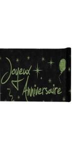 Chemin de table joyeux anniversaire noir et vert 28 cm x 5 m