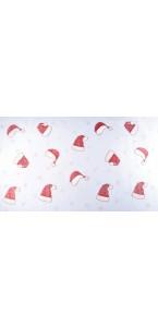 Chemin de table bonnets Noël et flocons paillettes irisées 36 cm x 5 m