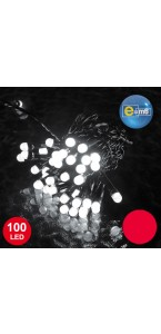 Guirlande 100 leds 8 mm rouges 8 fonctions 10 m