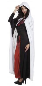 Cape de vampire blanche avec capuche Halloween adulte 180 cm