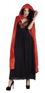 Cape de vampire en velours rouge avec capuche Halloween adulte 170 cm