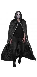 Cape noire longue brodée avec tête de mort Halloween