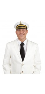 Casquette de capitaine luxe en tissu blanc taille adulte