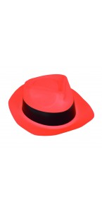 Chapeau Al Capone orange fluo
