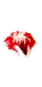 Chapeau de majorette rouge avec plumes