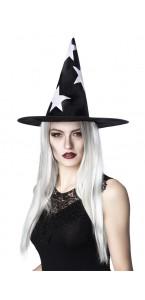 Chapeau de sorcière Shiny stars Halloween avec cheveux
