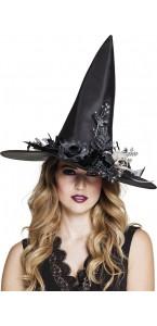 Chapeau de sorcière Skulla avec fleurs noires Halloween