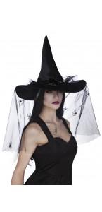 Chapeau de sorcière voile luxe Halloween