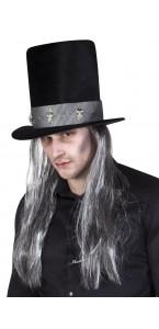 Chapeau Fossoyeur Nathan Halloween noir cheveux gris