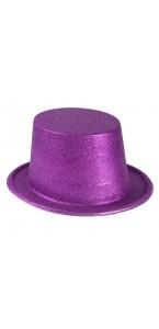 Chapeau haut de forme fuschia pailleté