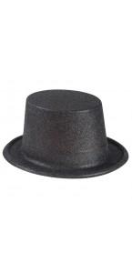 Chapeau haut de forme noir pailleté
