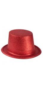 Chapeau haut de forme rouge pailleté