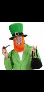 Chapeau haut de forme vert avec barbe