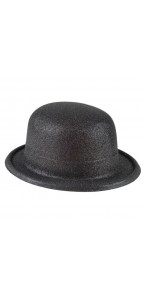 Chapeau melon noir pailleté