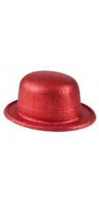 Chapeau melon rouge pailleté