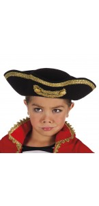 Chapeau Pirate Joey enfant noir avec galon or