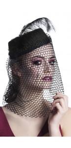 Chapeau Veuve noire avec voilette Halloween