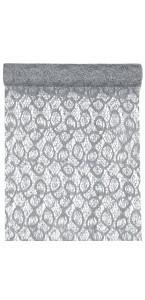 Chemin de table argent métallique dentelle en organdi 28 cm x 5 m