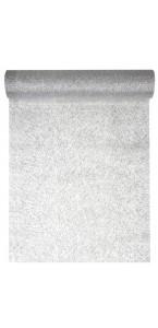 Chemin de table argent pailleté Vague en organdi 28 cm x 5 m