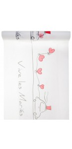 Chemin de table blanc Vive les Mariés 30 cm x 5 m