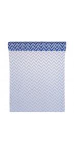 Chemin de table chevron organza bleu/argent 28cm  x 5 m