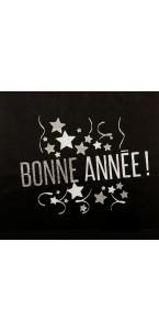 Chemin de table Figaro noir/blanc pailleté 28 cm x 5 m