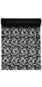 Chemin de table noir métallique dentelle en organdi 28 cm x 5 m