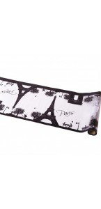 Chemin de table Paris Blanc/Noir en organza 30 cm x 5 m