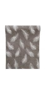 Chemin de table plume jute gris/blanc 28 cm x 5 m
