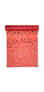 Chemin de table satin rouge cœurs rouges 28 cm x 5 m