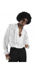 Chemise disco blanche avec jabot