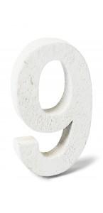 Chiffre 9 en bois blanc 5 cm