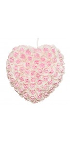 Coeur de roses roses/blanches 25 cm