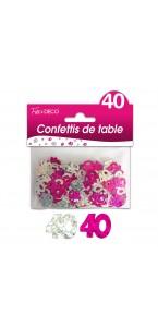 Confettis de table 40 ans Hologramme Rose argent