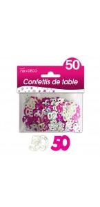 Confettis de table 50 ans Hologramme Rose argent