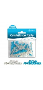 Confettis de table Joyeux Anniversaire bleus