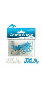 Confettis de table Vive la Retraite bleus argent